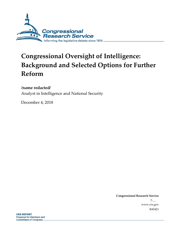 """""""Gang of Four"""" Congressional Intelligence Notifications"""