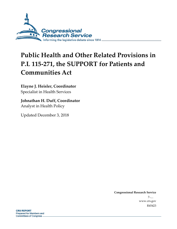 Public Health and Other Related Provisions in P L 115-271
