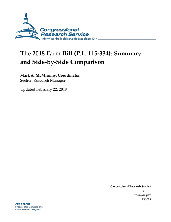 The 2018 Farm Bill (P L  115-334): Summary and Side-by-Side