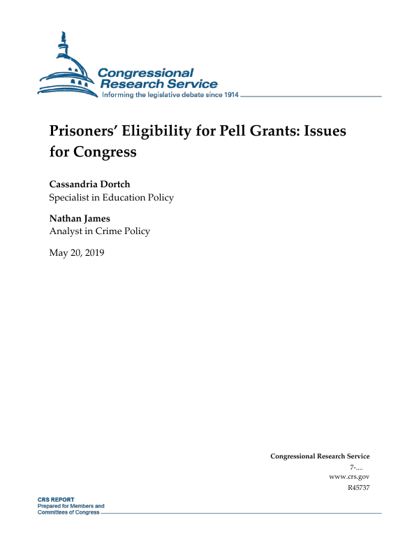 Prisoners' Eligibility for Pell Grants: Issues for Congress