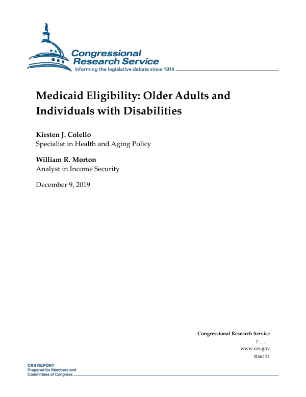 Medicaid Eligibility Older Adults And Individuals With Disabilities Everycrsreport Com
