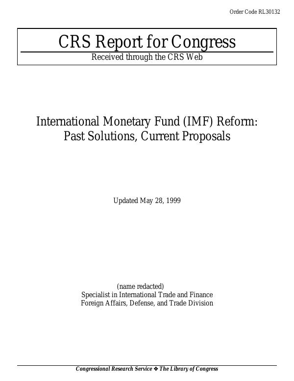 International Monetary Fund (IMF) Reform: Past Solutions