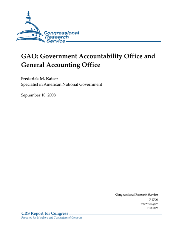 Gao Recommends Legislation Re Notice Of >> Gao Government Accountability Office And General Accounting Office