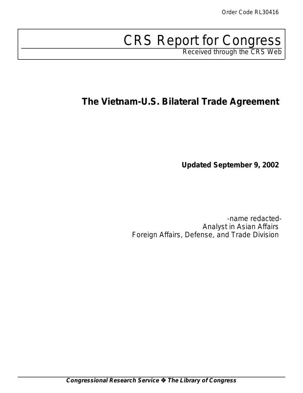 The Vietnam Us Bilateral Trade Agreement Everycrsreport