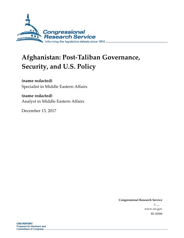 Afghanistan: Post-Taliban Governance, Security, and U S  Policy