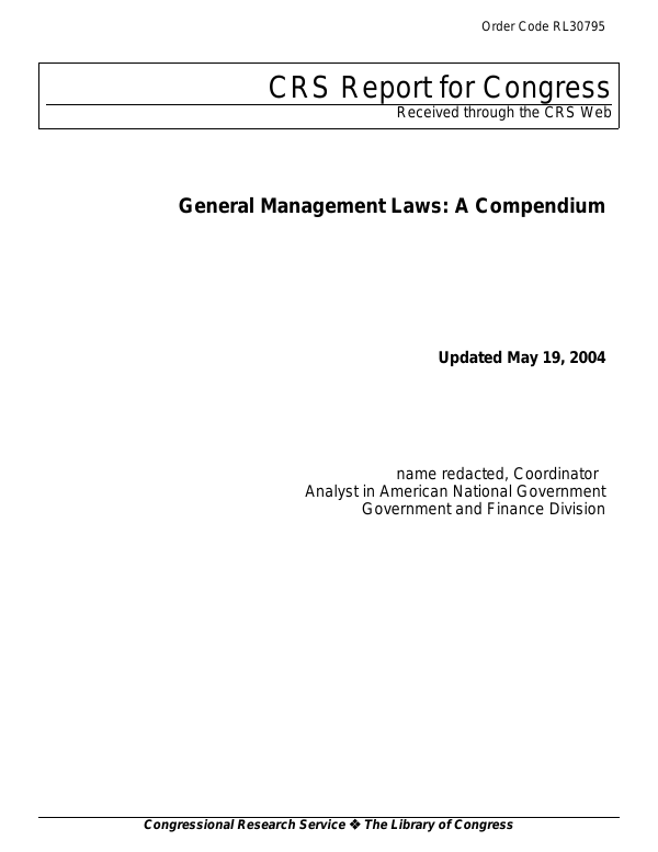 General Management Laws: A Compendium - EveryCRSReport com