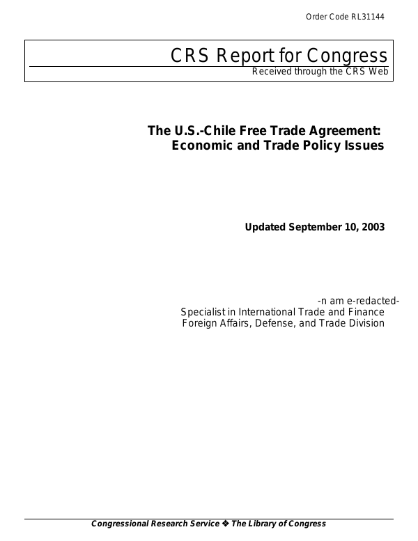 The Us Chile Free Trade Agreement Economic And Trade Policy