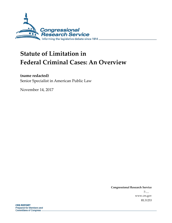 Statute of Limitation in Federal Criminal Cases: An Overview