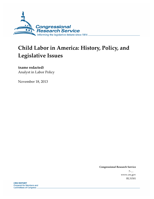 Child Labor In America History Policy And Legislative Issues
