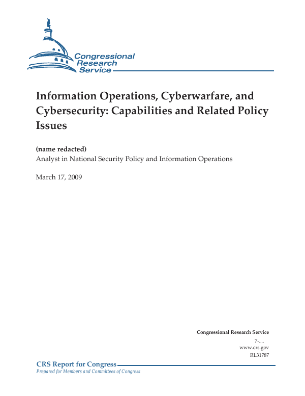 information operations cyberwarfare and cybersecurity