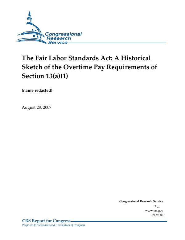 a history of the fair labor standards act