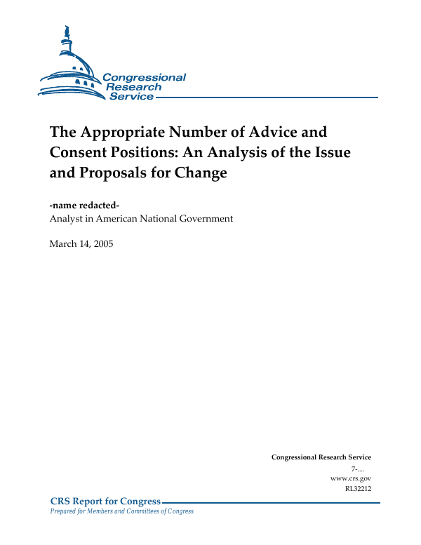 The Appropriate Number of Advice and Consent Positions: An
