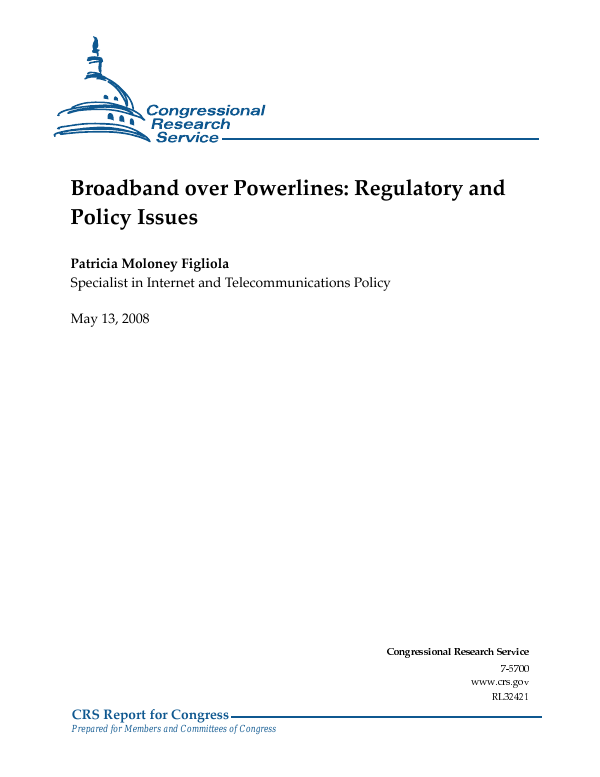 Broadband over Powerlines: Regulatory and Policy Issues