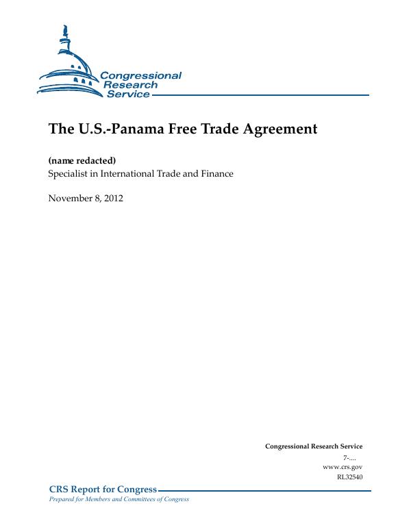 The Us Panama Free Trade Agreement Everycrsreport