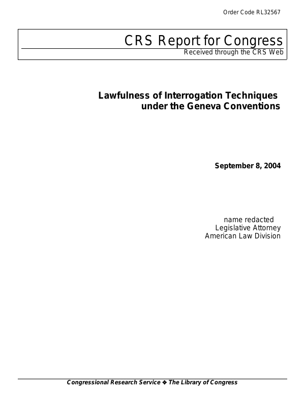 Lawfulness of Interrogation Techniques under the Geneva