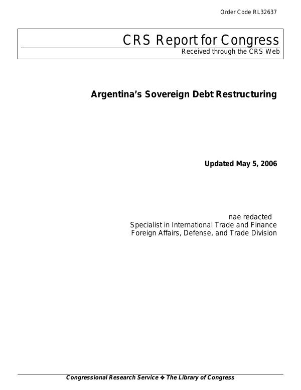 Argentinas Sovereign Debt Restructuring Everycrsreport