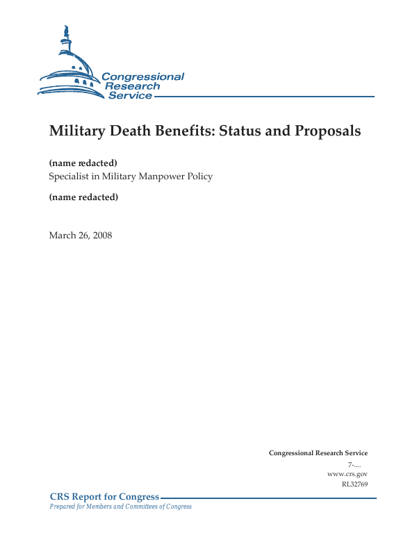 Military Death Benefits: Status and Proposals - EveryCRSReport com