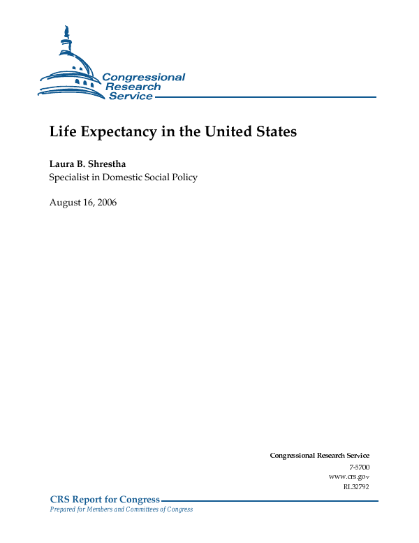 Life Expectancy in the United States - EveryCRSReport com