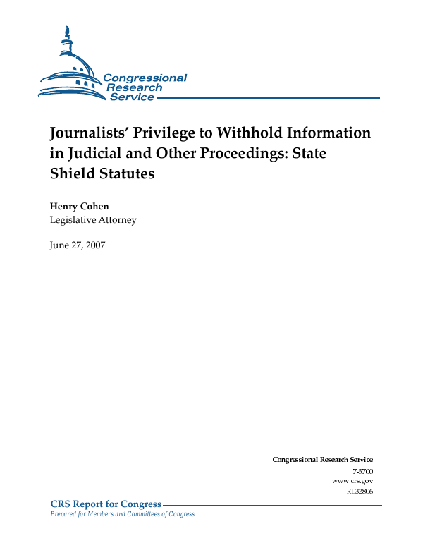 Journalists' Privilege to Withhold Information in Judicial