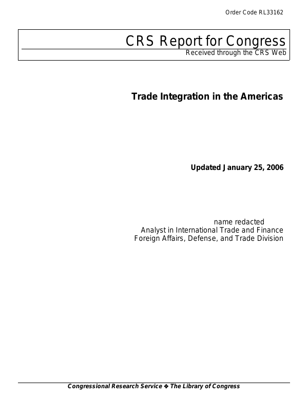 Trade Integration In The Americas Everycrsreport