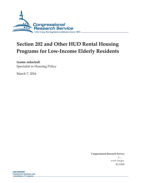 section 202 and other hud rental housing programs for low income elderly residents everycrsreportcom