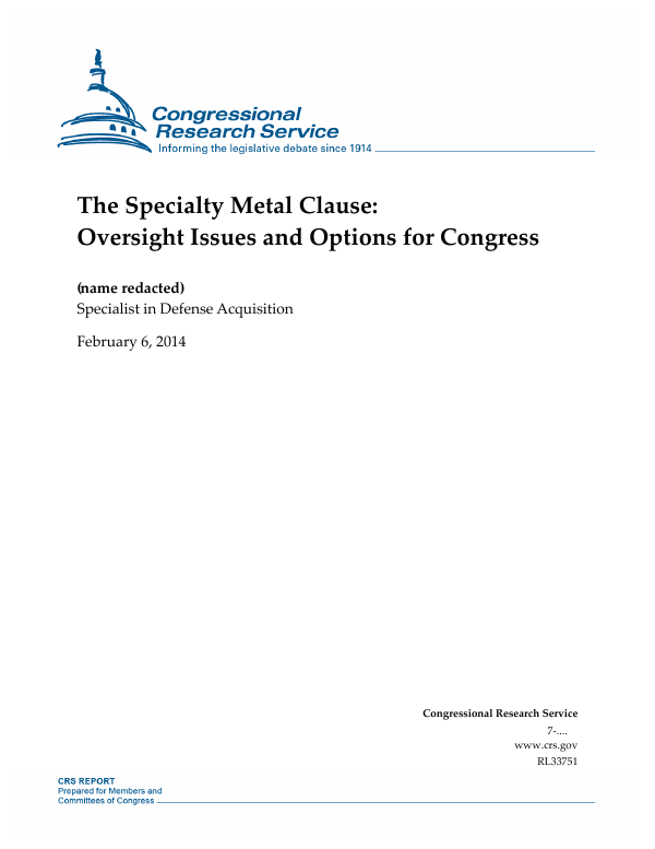 The Specialty Metal Clause: Oversight Issues and Options for