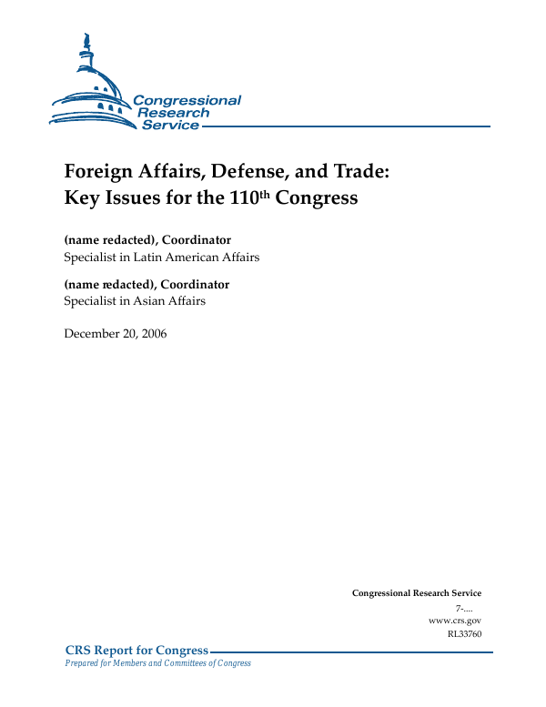 Foreign Affairs, Defense, and Trade: Key Issues for the 110th