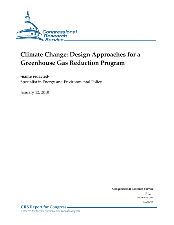 Climate Change: Design Approaches for a Greenhouse Gas Reduction Program