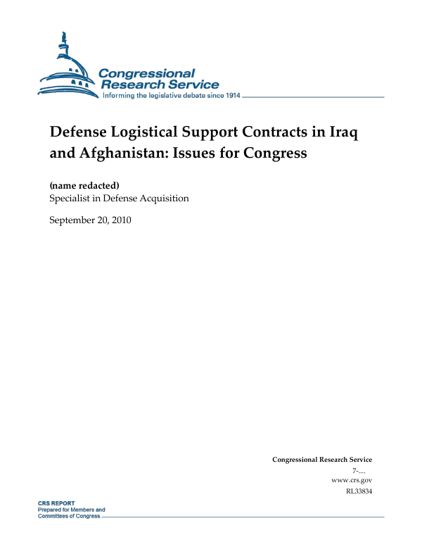 Defense Logistical Support Contracts in Iraq and Afghanistan