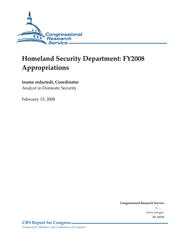 Homeland Security Department: FY2008 Appropriations - EveryCRSReport com