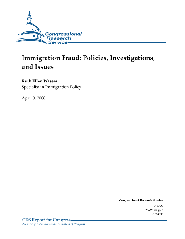 Superb Immigration Fraud: Policies, Investigations, And Issues   EveryCRSReport.com