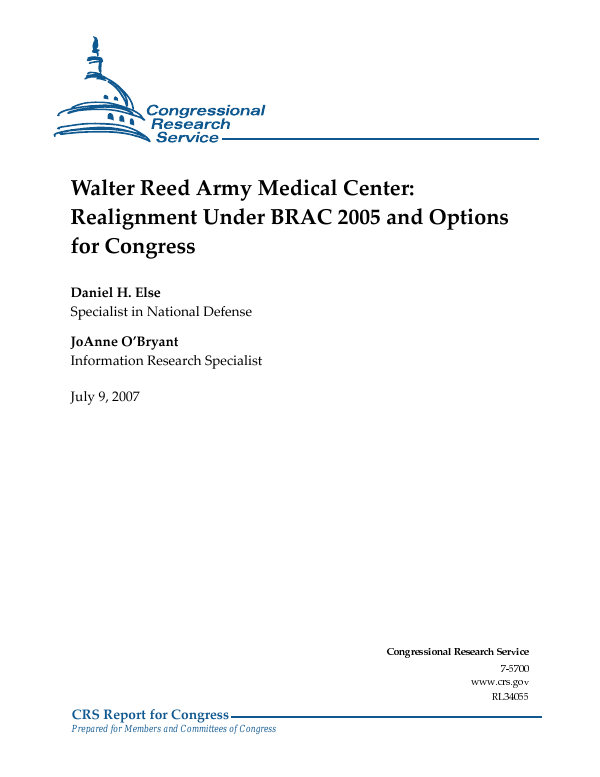 Walter Reed Army Medical Center: Realignment Under BRAC 2005