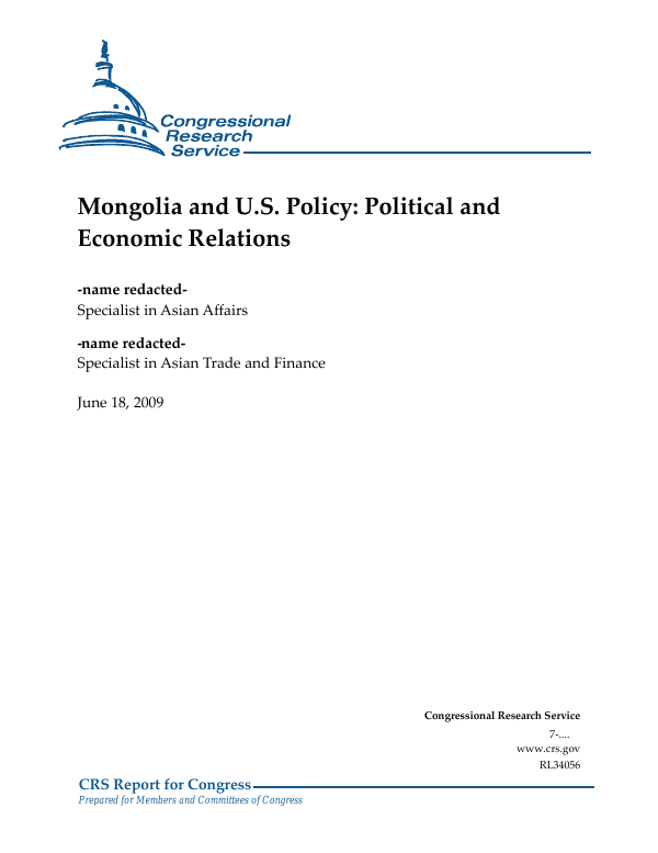 Mongolia and U S  Policy: Political and Economic Relations