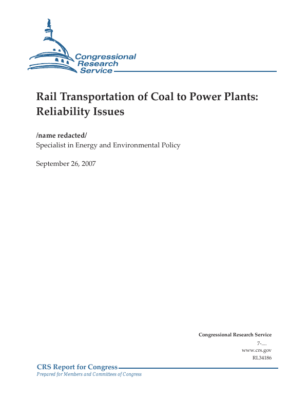 Rail Transportation of Coal to Power Plants: Reliability Issues