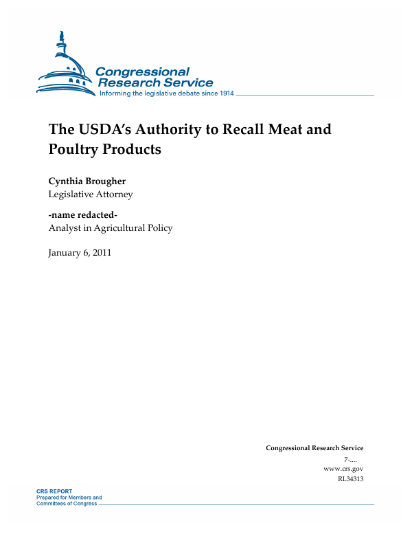 The USDA's Authority to Recall Meat and Poultry Products
