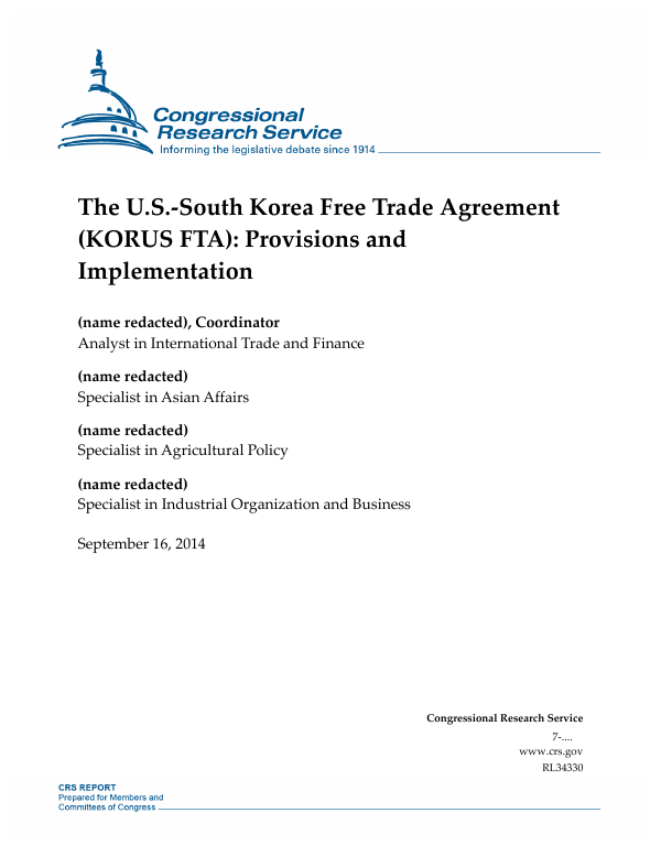 The Us South Korea Free Trade Agreement Korus Fta Provisions