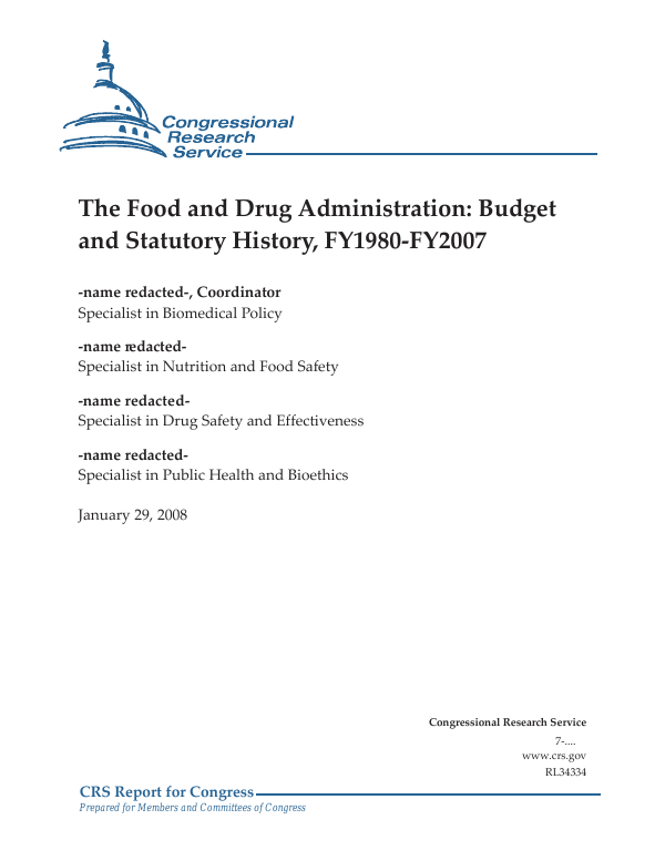 The Food and Drug Administration: Budget and Statutory History ...