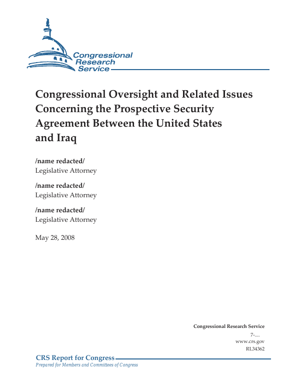 Congressional Oversight And Related Issues Concerning The