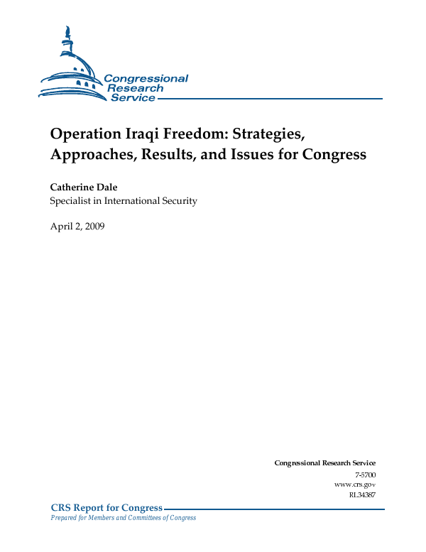 Operation Iraqi Freedom Strategies Approaches Results And Issues