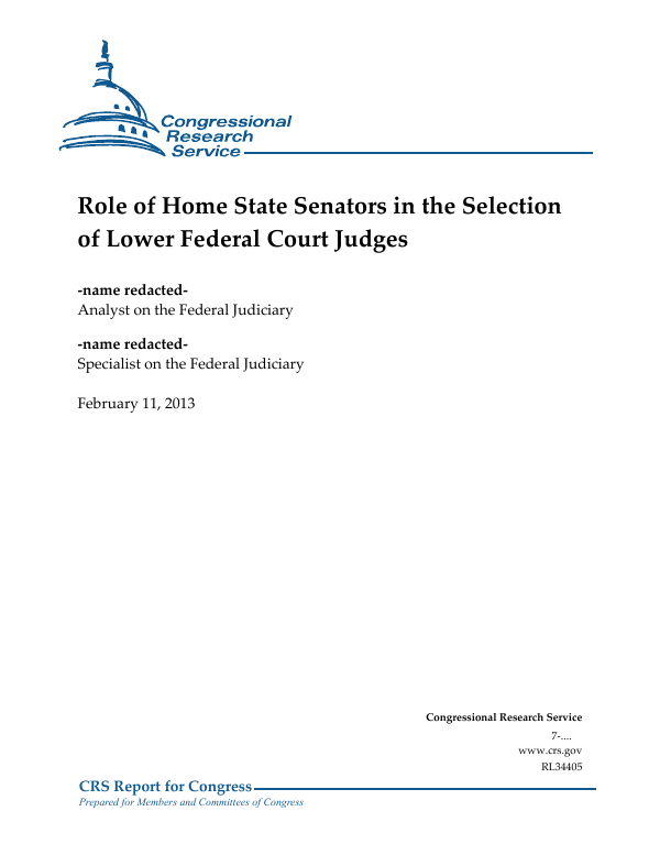 Role Of Home State Senators In The Selection Of Lower Federal - Almanac of the federal judiciary