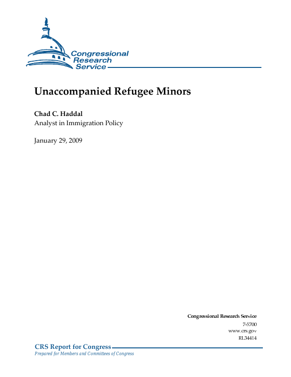 Unaccompanied Refugee Minors Everycrsreport
