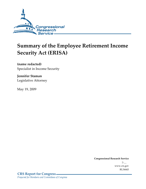 Summary of the Employee Retirement Income Security Act (ERISA