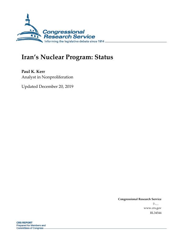 Iran's Nuclear Program: Status - EveryCRSReport com