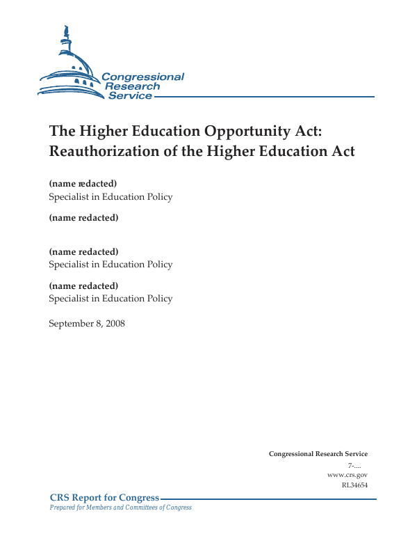 Special Education Law 101 Part Vii >> The Higher Education Opportunity Act Reauthorization Of The Higher