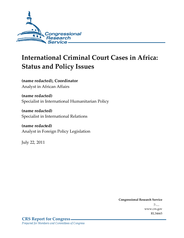 International Criminal Court Cases in Africa: Status and