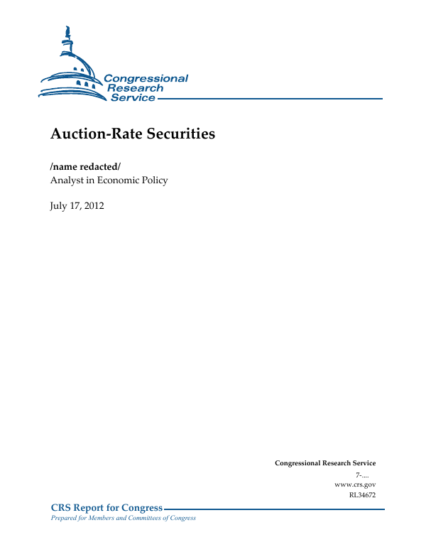 Auction Rate Securities Everycrsreport