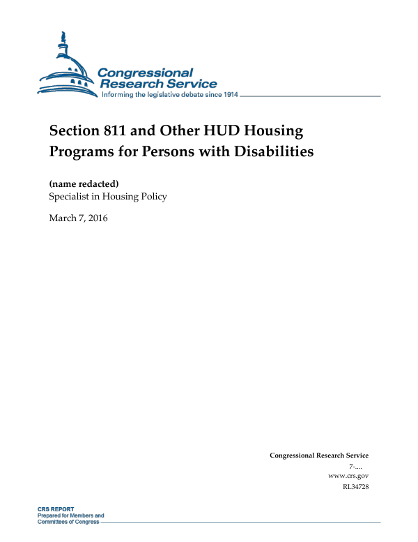 Section 811 and Other HUD Housing Programs for Persons with