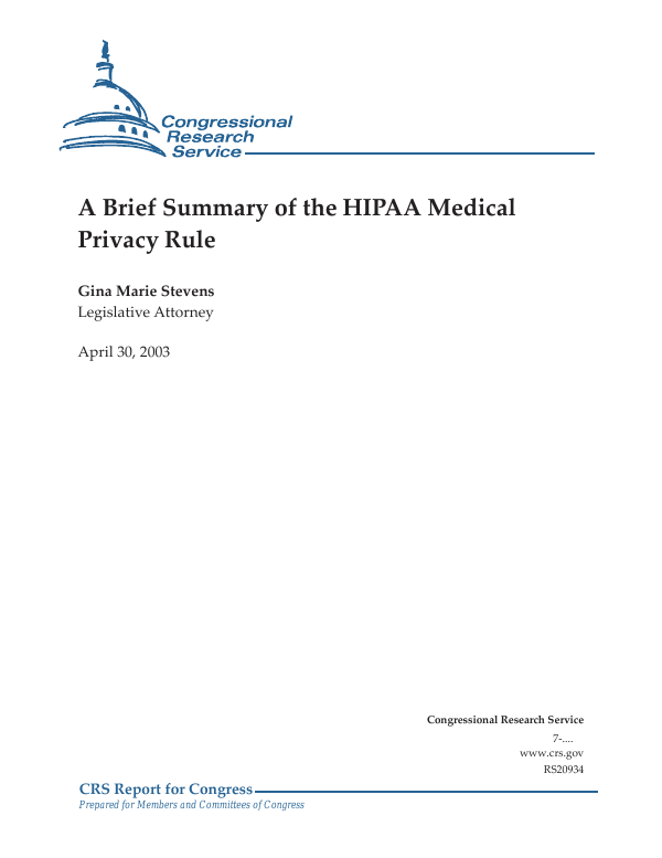 A Brief Summary of the HIPAA Medical Privacy Rule