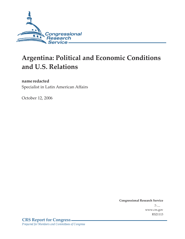 Argentina: Political and Economic Conditions and U.S. Relations