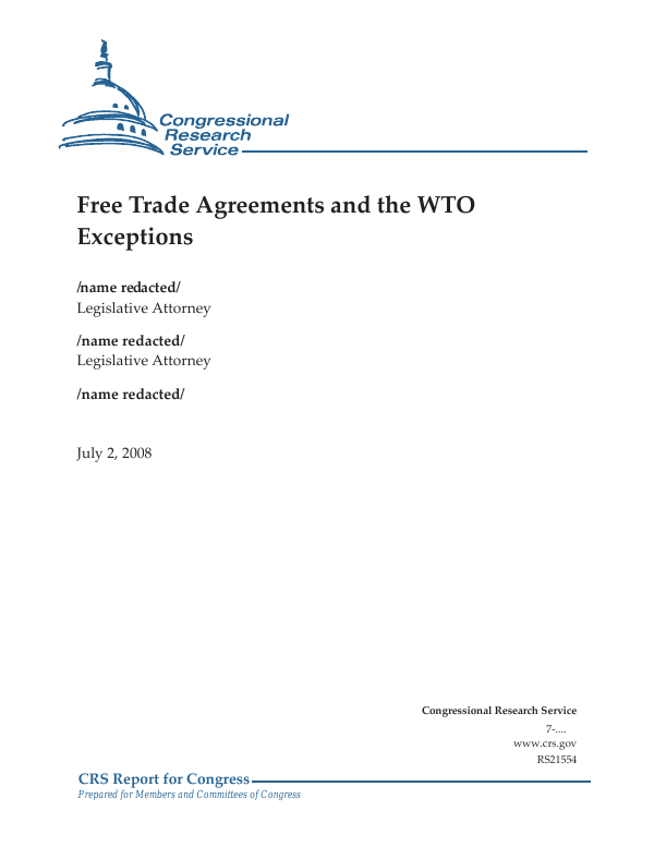 Free Trade Agreements And The Wto Exceptions Everycrsreport